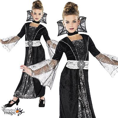 Girls Childs Dark Countess Vampire Halloween Party Fancy Dress Costume Outfit