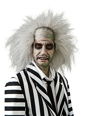 Adult Official Beetlejuice Grey Wig Halloween Fancy Dress Costume Accessory New