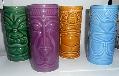 Set of 4 Ceramic Tiki Mug Hawaiian Party Pack -Jake, Big Al, Lenny & Artie 10 oz