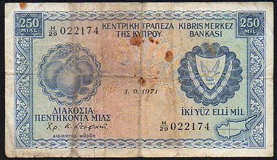 1971 CYPRUS 250 MILS BANKNOTE * H/29 022174 * P-41a *