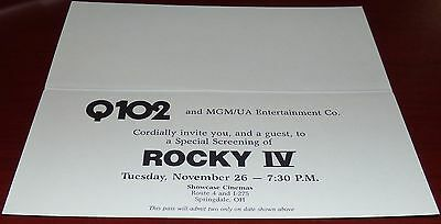 Rocky Iv 1985 Original Advance Pre-Screening Movie Ticket Sylvester Stallone