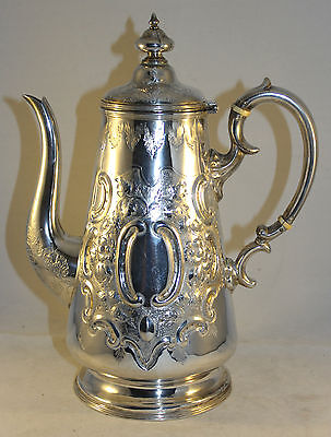 Fabulous Antique Victorian Silver Plate Coffee Pot Etched and Embossed