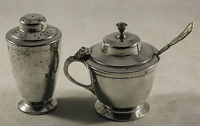 Art Deco Silver Plate Mustard Pot And Pepper Pot Regent Plate