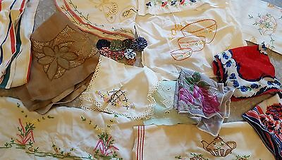 Vintage Estate Lot 6+lbs Linens Embroidery Doilies Fabric Hankies Towels 50+