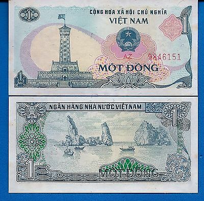 Vietnam P-90 One Dong Year 1985 Tower of Ha Noi a/Uncirculated Banknote