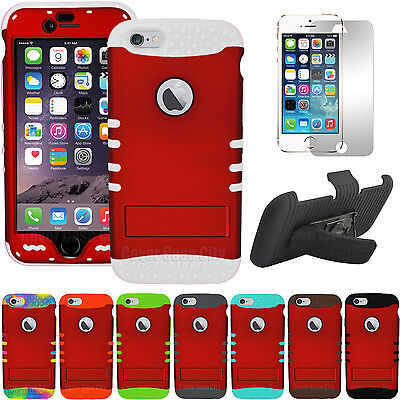 """Dark Red Shock Resistant Cover Case + Screen Holster Clip for iPhone 6 Plus 5.5"""""""