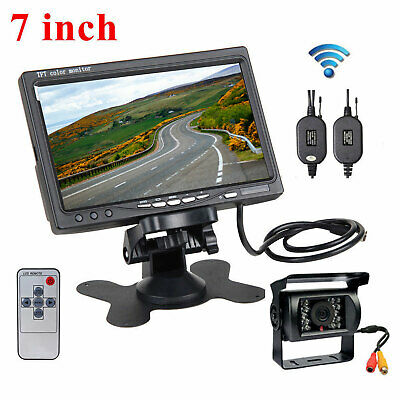 "Wireless Rear View Back Up Camera Night Vision System + 7"" Monitor for RV Truck"