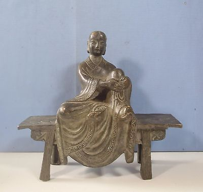 Rare fine antique bronze statue Buddhist in mediation circa late Qing Period