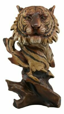 "Faux Wood Large Exotic Jungle Wildlife Orange Bengal Tiger Bust Statue 11""Tall"