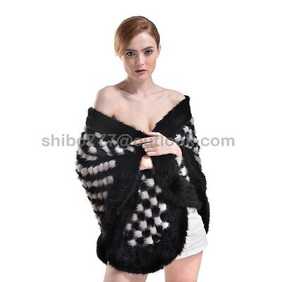 100% Real Knitted Mink Fur Cape Stole Scarf Shawl Wedding Evening Dress Fashion