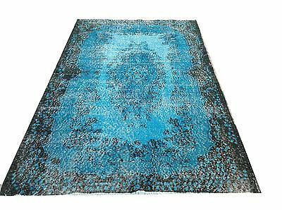 "6'7"" x 3'10"" Vintage Turquoise blue aqua  oushak overdyed rug carpet hawaii"
