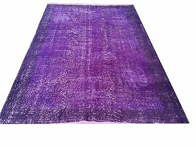 "CLEARENCE 6'10"" x 4'  Vintage PURPLE OUSHAK Overdyed carpet rug"
