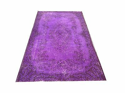 "7'2"" x 3 '9"" Vintage PURPLE OUSHAK Overdyed carpet rug color reform"