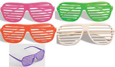 80'S Neon Slot Shutter Glasses Sunglasses Slotted Eyewear Costume Accessory