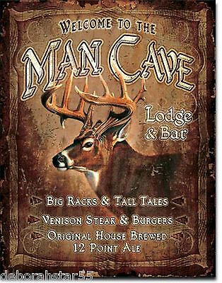 Large Man Cave Stag Head Vintage Weathered Bar Pub Shed Metal Tin Sign 1868