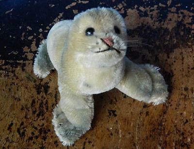 Steiff Vintage 1954 Miniature 5 Inch Mohair Robby Seal With Silver Script Button