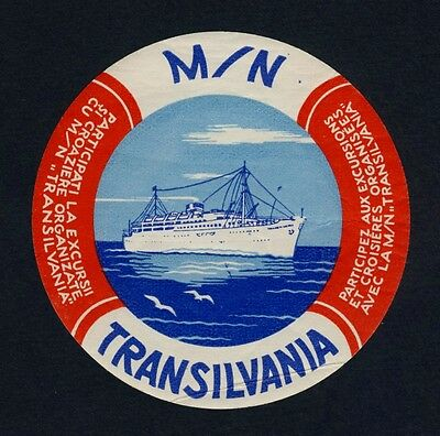 Ship M/N TRANSILVANIA Ukraine Shipping Line * Old Luggage Label Kofferaufkleber