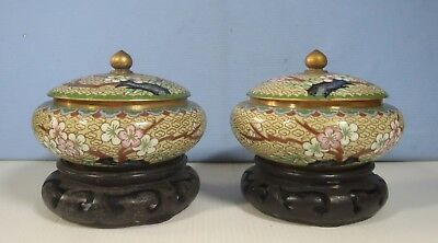 Antique Chinese cloisonne boxes pair  hand crafted Beijing cherry blossom