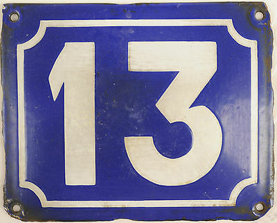 Old blue French house number 13 door gate plate plaque enamel steel metal sign
