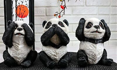"Wise See Hear Speak No Evil Giant China Pandas Set of 3 Figurines 5.75""H Decors"