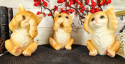 Three Wise Kittens See Hear Speak No Evil Tabby Cats Statue Set Animal Decor