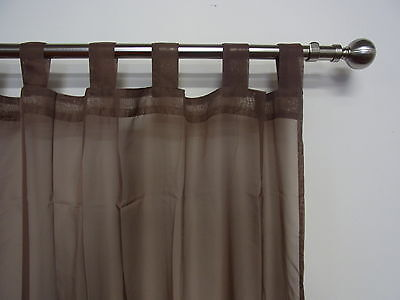 Chocolate VOILE CURTAIN Tab Top Sheer lace alternative 2x120x213cm PAIR