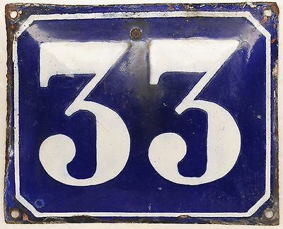 Large old blue French house number 33 door gate plate plaque enamel metal sign