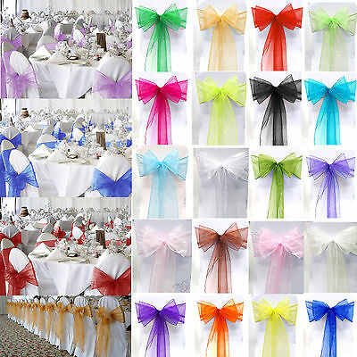 10 50 100 Organza Sashes Chair Cover Bow Sash WIDER FULLER BOWS Wedding Party