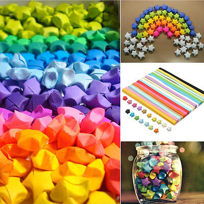 80pcs Origami Lucky Star Paper Strips Folding Paper Ribbons Colors DIY Gift