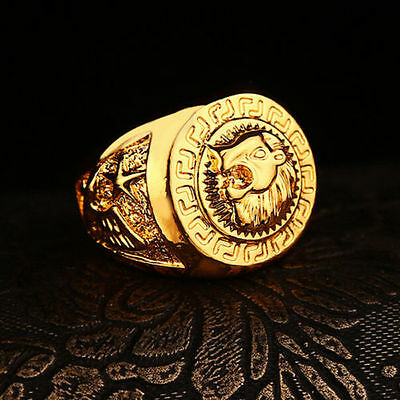 Men's Stainless Steel Gold Lion Head Ring Size 8,9,10,11 Hiphop Ring Jewelry