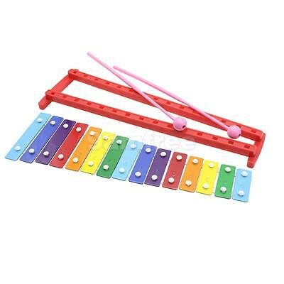15 Keys Aluminum Glockenspiel Colorful with Mallet Xylophone Children Gift