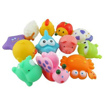 12pcs Baby Kids Bath Bathing Toys Cute Rubber Floating Water Squeaky Animals