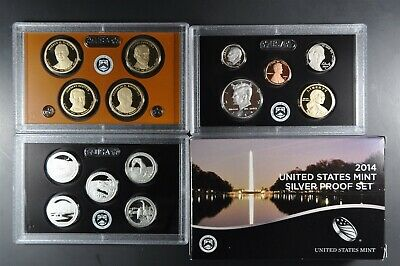 2014 S U.S. Mint 90% Silver Proof set (14) coins with Native American & Quarters