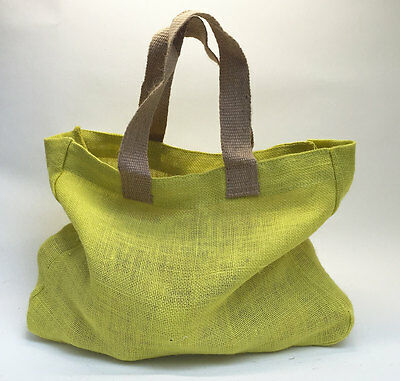 Nutley's Coloured Hessian Bag handles harvesting trug vegetable storage yellow