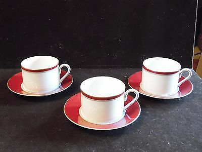 3 Mikasa China GRANDEUR RED Cup and Saucer Sets Scarlet & Grey Ohio State Colors