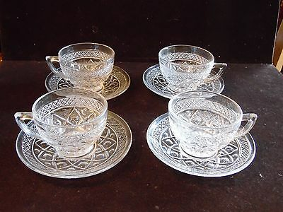 4 Cup and Saucer Sets Cape Cod Clear Imperial Glass Ohio