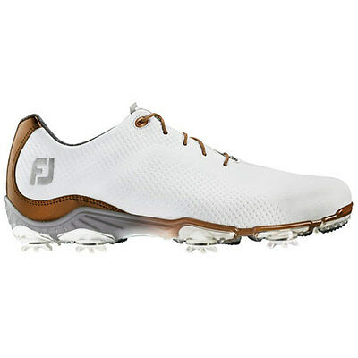 FootJoy DryJoys DNA Mens Closeout Golf Shoes - White/Bronze - 53487 - Spiked-New
