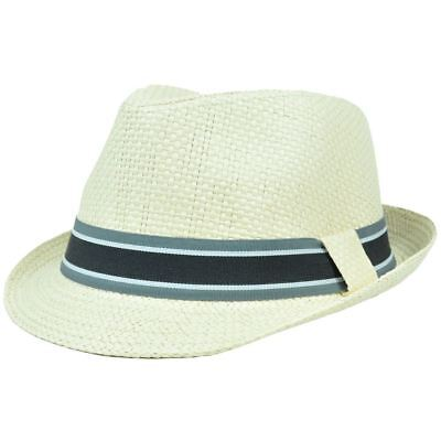 FD-177 Trilby Woven Paper Fedora Striped Band Small Medium Gangster Hat  Stetson 5028b9c636af