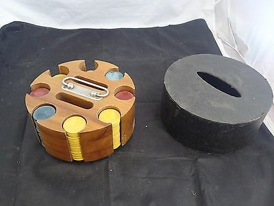 Wood Poker Chip Carousel w/Handle Vintage Caddy Holder Revolving Wooden Clay Set