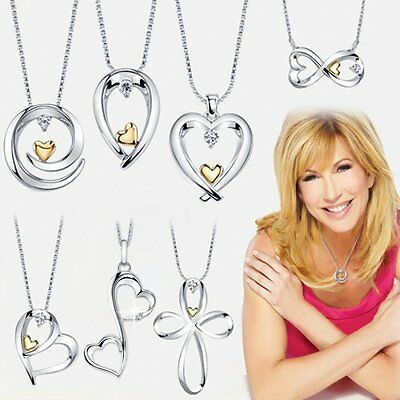 Love Theme Silver & Gold Heart Pendant Crystal Necklace Women MOM Lover Gift