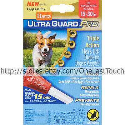 HARTZ* Ultra Guard Pro DROPS Fleas+Ticks FOR DOGS 15 to 30 lbs 3 MONTHS