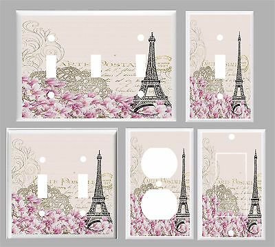 Paris Eiffel Tower Pink Floral # 10  Light Switch Cover Plate  U Pick Plate Size