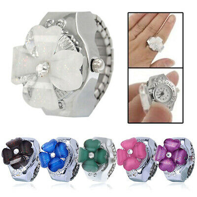 Womens Girls Brilliant Flower Steel Round Dial Elastic Quartz Finger Ring Watch