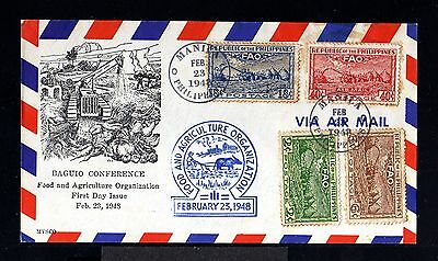 11444-PHILIPPINES-AIRMAIL FIRST DAY COVER MANILA.1948.WWII.Agriculture.FILIPINAS