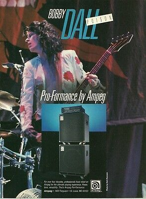 Bobby Dall (Poison band) Ampeg Pro Formance bass guitar amp 8 x 11 ad print