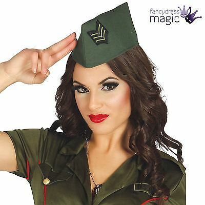 *Adult 40s Military Army Soldier WW2 Fancy Dress Costume Accessory Side Cap Hat*