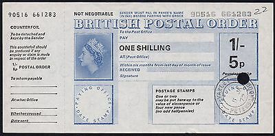 1972 1/- 5p DUAL CURRENCY + POUNDAGE POSTAL ORDER