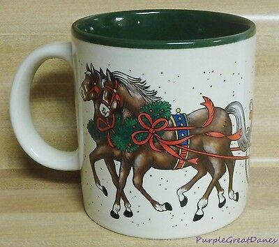 CHRISTMAS Marvelous MUG / CUP HORSES Pulling Santa Claus' Sleigh Potpourri Press