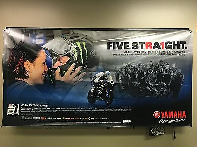 "Yamaha Josh Hayes ""FIVE STRA1GHT"" Dealer Banner 94"" x 48"""