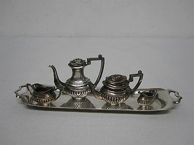 VINTAGE A. MARSTON BIRMINGHAM STERLING SILVER DOLLHOUSE MINIATURE TEA SET w TRAY